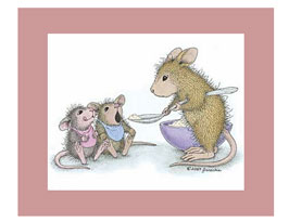 House-Mouse Matted Prints for kids and babies rooms
