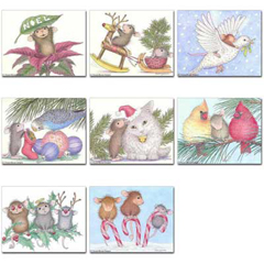 8 diff Christmas Cards + 8 Env - House-Mouse Designs® Assorted Packages of 8 Christmas Cards