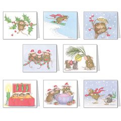 8 Assorted Christmas Cards & 8 Envelopes. - House-Mouse Designs® Assorted Package of 8 Christmas Cards