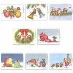 8 diff Christmas Cards + 8 Env - House-Mouse Designs® Assorted Package of 8 Christmas Cards
