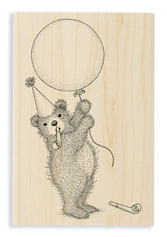 BALLOON BEAR - Select Wood Mounted rubber stamps on sale! Save 25%