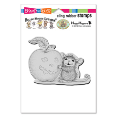 Cling Apple Smile Rubber Stamp - Our Newest House-Mouse Designs® Cling rubber stamps