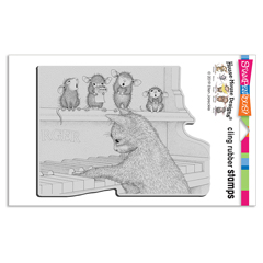Cling Kitten On The Keys Rubbe - Our Newest House-Mouse Designs® Cling rubber stamps