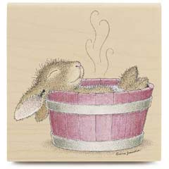 Bunny Bath - House Mouse HappyHoppers rubber stamps