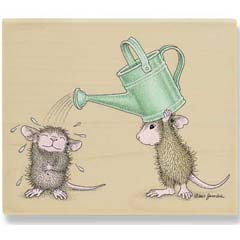 Tin Can Showering (July 08) - House Mouse rubber stamp