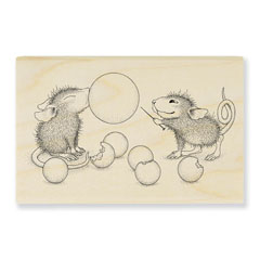 Bubble Popper Rubber Stamp - Our Newest House-Mouse Designs® Wood Mounted rubber stamps