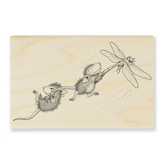 Dragonfly Ride Wood Mounted - Our Newest House-Mouse Designs® Wood Mounted rubber stamps