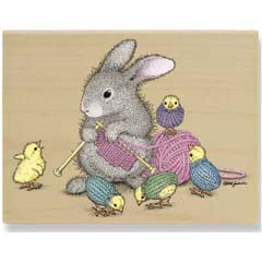 Will Knit for Friends - House Mouse HappyHoppers rubber stamps
