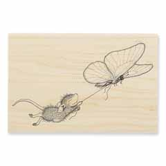 BUTTERFLY RIDE - Our Newest House-Mouse Designs® Wood Mounted rubber stamps