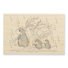 Peony Umbrella Rubber Stamp - Our Newest House-Mouse Designs® Wood Mounted rubber stamps