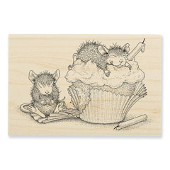 Cupcake Happy Rubber Stamp - Our Newest House-Mouse Designs® Wood Mounted rubber stamps
