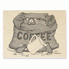 Coffee Break Rubber Stamp - Our Newest House-Mouse Designs® Wood Mounted rubber stamps
