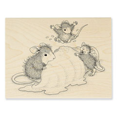 Ice Cream Crazy Rubber Stamp - Our Newest House-Mouse Designs® Wood Mounted rubber stamps