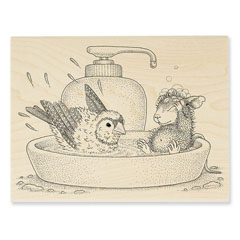 Bird Bath Rubber Stamp - Our Newest House-Mouse Designs® Wood Mounted rubber stamps
