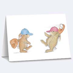 8 Playing Catch Notecards - House Mouse HappyHoppers Notecards