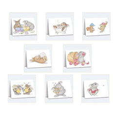 8 Ass't HappyHopper Cards/Envs - House Mouse HappyHoppers Notecards