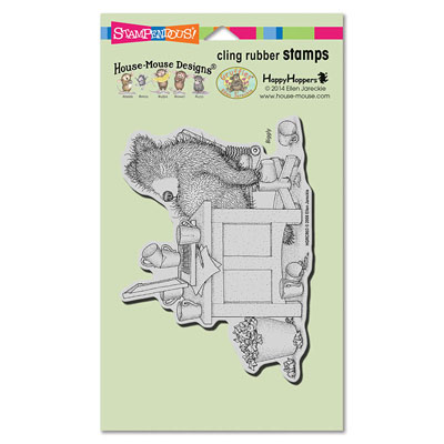 CLING Bearly Working - House-Mouse Rubber Stamp