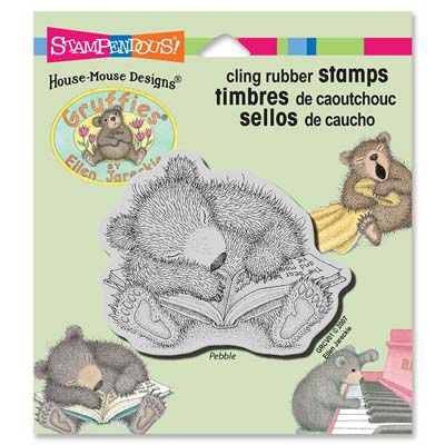 CLING SLEEPY READER - House-Mouse Rubber Stamp