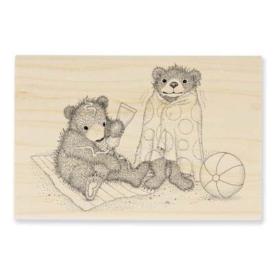 BEACHY BEARS - House-Mouse Rubber Stamp