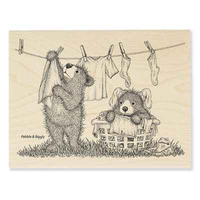 Laundry Day - House-Mouse Rubber Stamp