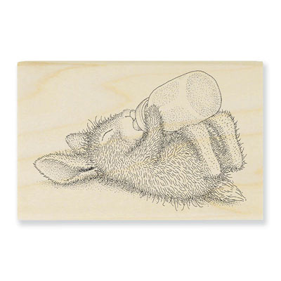 Bottle Bunny - House-Mouse Rubber Stamp