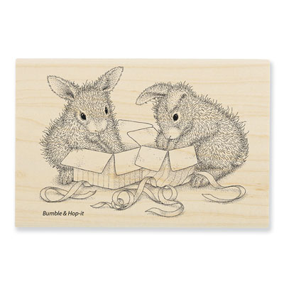 Opening Gifts - House-Mouse Rubber Stamp