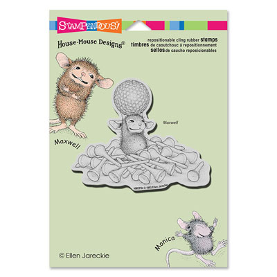 CLING Tee Time - House-Mouse Rubber Stamp