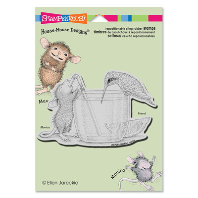 CLING Share A Sip - House-Mouse Rubber Stamp