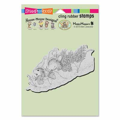 CLING Leaf Sledding - House-Mouse Rubber Stamp