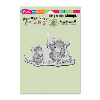CLING Teddy Mouse Mend - House-Mouse Rubber Stamp