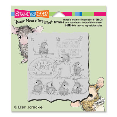 CLING GROWTH CHECK - House-Mouse Rubber Stamp