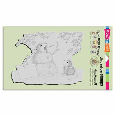 CLING Hungry Snowman - House-Mouse Rubber Stamp