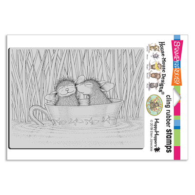 Cling Teacup Kiss Rubber Stamp - House-Mouse Rubber Stamp