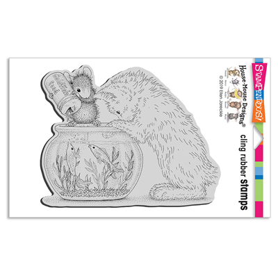 Cling Curious Kitten - House-Mouse Rubber Stamp