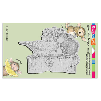 CLING BIRDIE KISS - House-Mouse Rubber Stamp