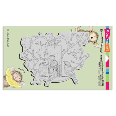 CLING FULLY CONTENT - House-Mouse Rubber Stamp
