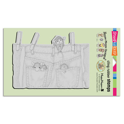CLING Hanging Jeans - House-Mouse Rubber Stamp