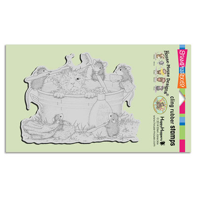 CLING KITTY CLEANING - House-Mouse Rubber Stamp