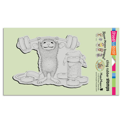 CLING SWEET WORKOUT - House-Mouse Rubber Stamp
