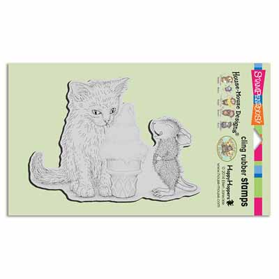 CLING ICE CREAM KITTY - House-Mouse Rubber Stamp