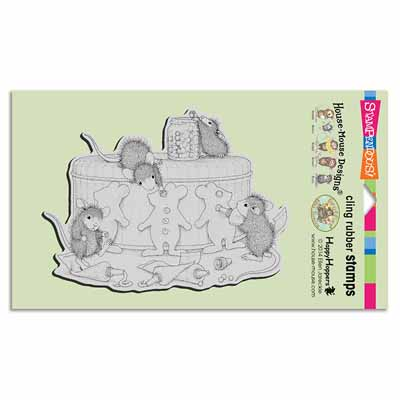 CLING GINGERBREAD MICE - House-Mouse Rubber Stamp