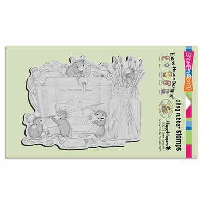CLING PLAYFUL PAINTERS - House-Mouse Rubber Stamp