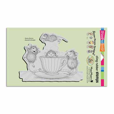 CLING COFFEE CRAZY - House-Mouse Rubber Stamp