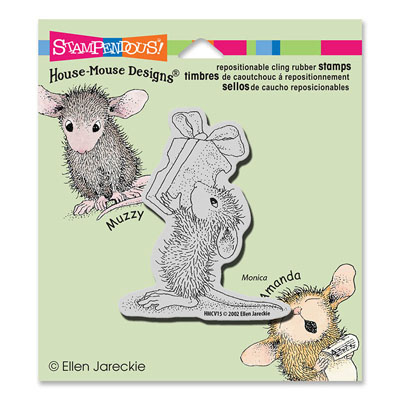 CLING Cheesy Gift - House-Mouse Rubber Stamp
