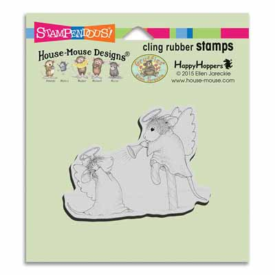 CLING Trumpet Blast - House-Mouse Rubber Stamp