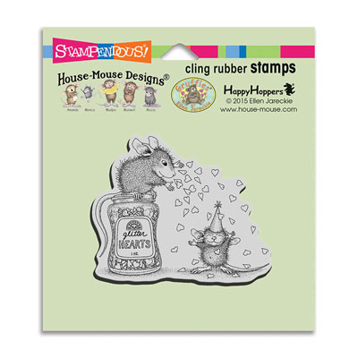 CLING Glitter Hearts - House-Mouse Rubber Stamp