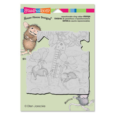 CLING Staying Cool - House-Mouse Rubber Stamp