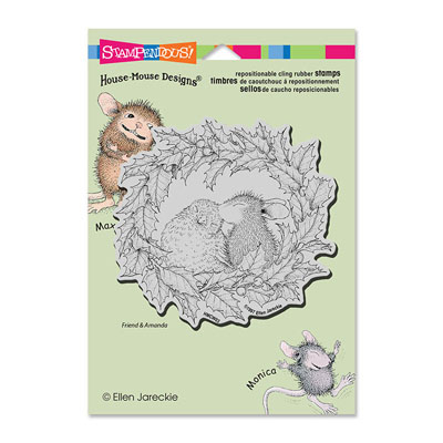 CLING WREATH KISS - House-Mouse Rubber Stamp