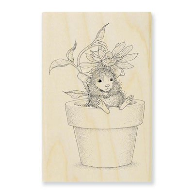 Potted Mouse - House-Mouse Rubber Stamp