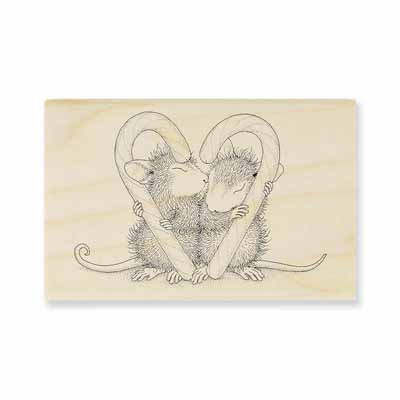 CANDY CANE KISS - House-Mouse Rubber Stamp